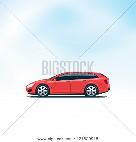 Isolated Red Car Station Wagon Combi Side View