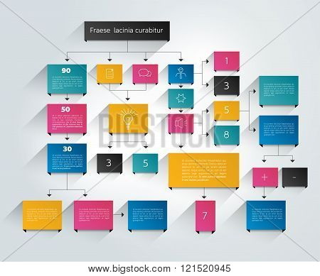Big color  flowchart scheme with text fields and icons.