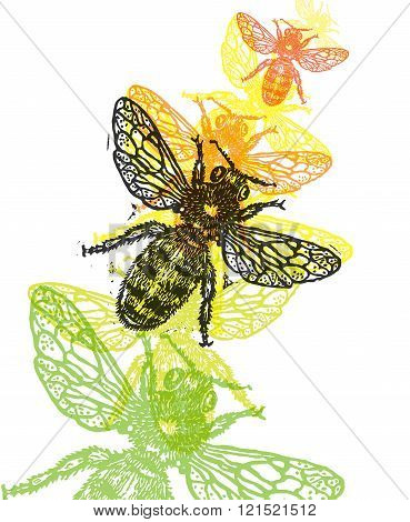 Vector Bee In Abstract Composition