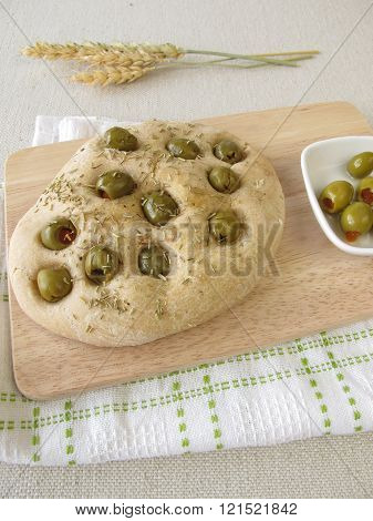 Focaccia bread with rosemary and olives