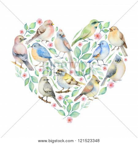 Watercolor set of birds and spring flowers.