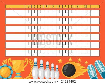 Bowling score sheet. Blank template scoreboard with game objects