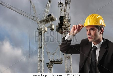 an engineer with hard hat