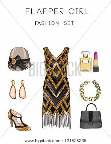 Fashion set of woman's clothes and accessories - Vintage outfit illustration - Flapper girl