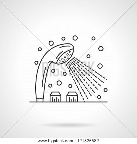 Shower dispenser flat line design vector icon