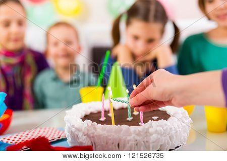Child On Birthday Party Prepair Blowing Candles On Cake, Selective Focus