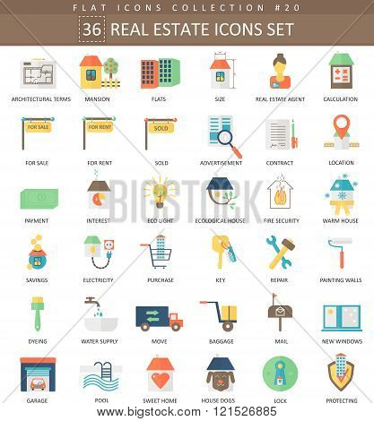 Vector real estates color flat icon set. Elegant style design.