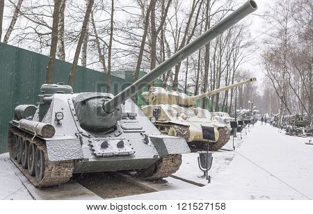 MOSCOW RUSSIA-DECEMBER 15- SU-100 - Soviet self-propelled artillery (1943) at the Museum of technique V.Zadorozhnyj on December 15;2015 in Moscow