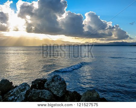 Cloudy sunset over the sea