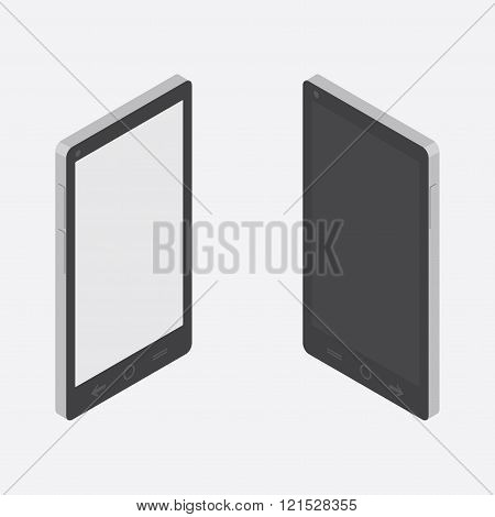 Isometric smartphone. smartphone image from different angles. Turning on and off the smartphone.