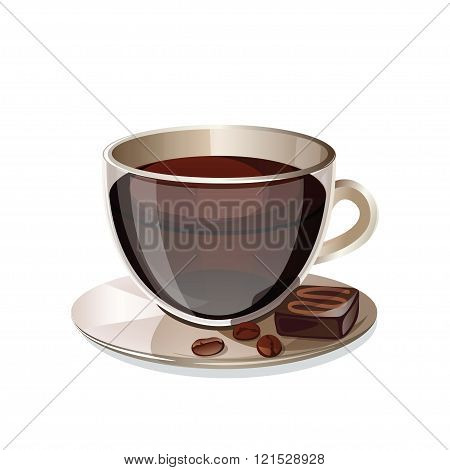 Glass cup of coffee isolated on white background.