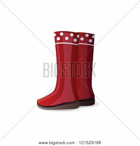 Rubber garden boots isolated on white background.