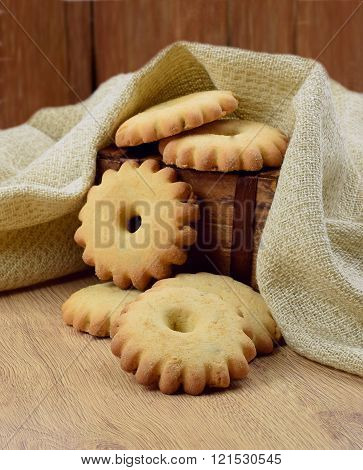 Homemade Cookies In A Wooden Box.