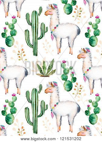 Texture with watercolor cactus plants,flowers and lama