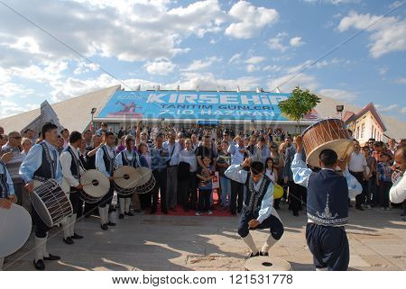 ANKARA/TURKEY-JUNE 8: Folk music drummer at the stage during the