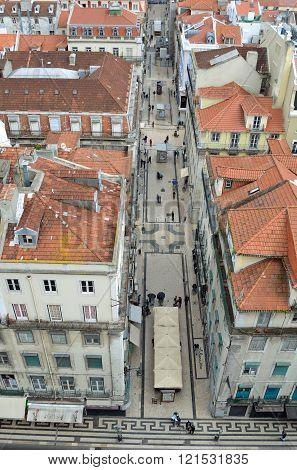 Rua de Santa Justa busy shopping street in Lisbon Portugal.