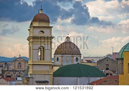 Aerial view of Saint Anne church and Cagliari cityscape, Sardinia