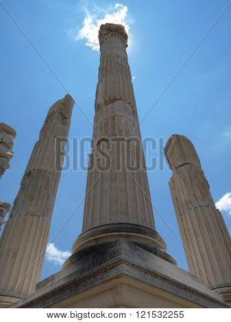 Columns of Pergamon at high noon, Turkey