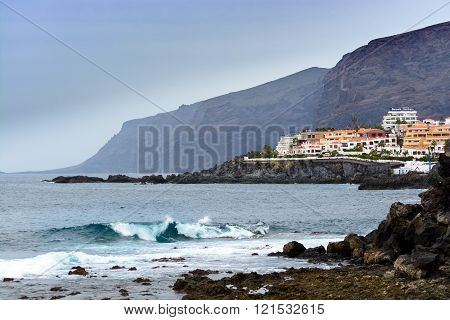 Rocky Atlantic ocean coastline near Los Gigantes at Tenerife island