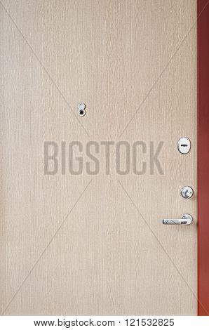 Wooden door of an apartment