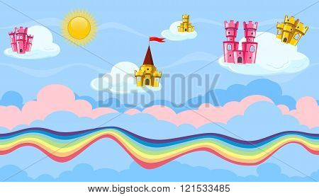 Seamless Editable Celestial Cloudscape With Colorful Castles And Rainbow For Game Design