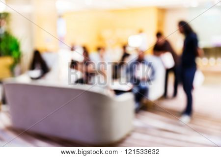 Blurred People In Press Conference Room