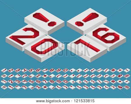 Isometric alphabet vector font. Three-Dimensional stock vector. Engraved numbers and punctuation marks a perspective view from above.