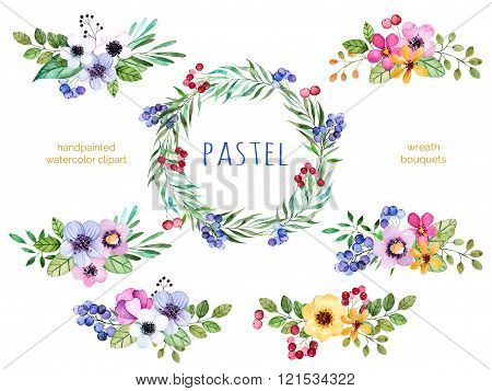 Colorful floral collection with bouquets and wreath
