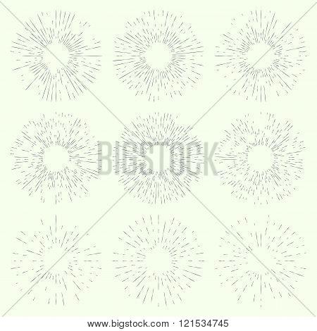 Set of vintage hand drawn sunbursts