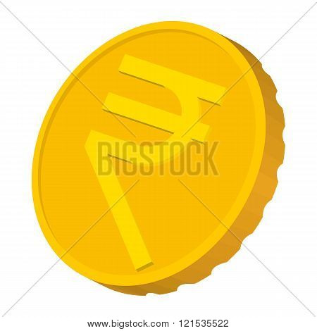 Gold coin with Rupee sign icon, cartoon style