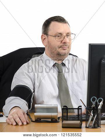 Office Man Measures Blood Pressure During Virtual Doctor Visit