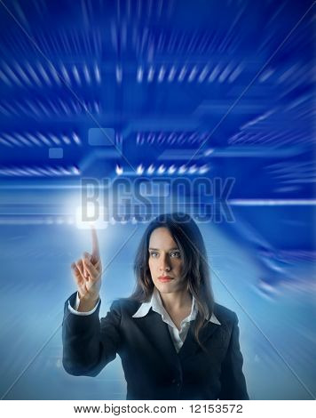 business woman touching a digital motherboard