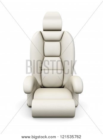 White car seat isolated on white background. 3d rendering