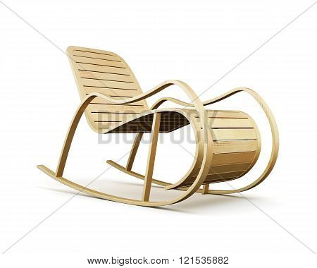 Wooden rocking chair isolated on white background. 3d rendering