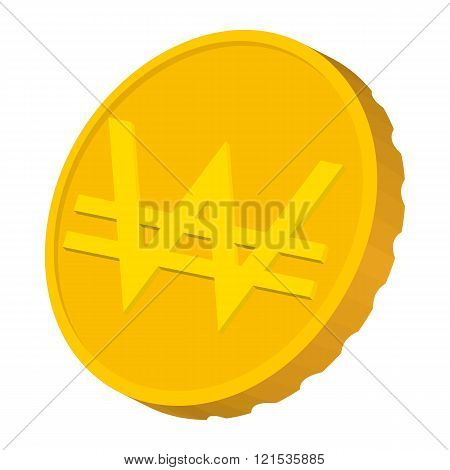 Gold coin with Won sign icon, cartoon style