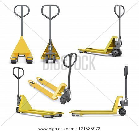 Set of hand pallet truck isolated on white background. 3d render