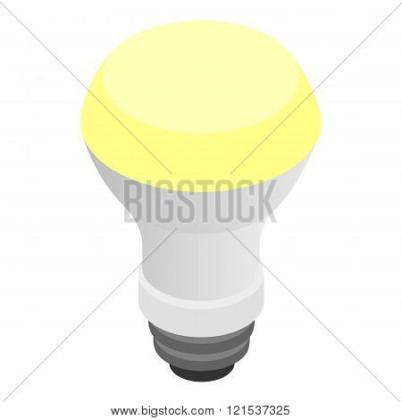 Glowing LED bulb icon, isometric 3d style