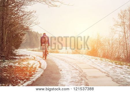 Lonely cyclist on the spring road