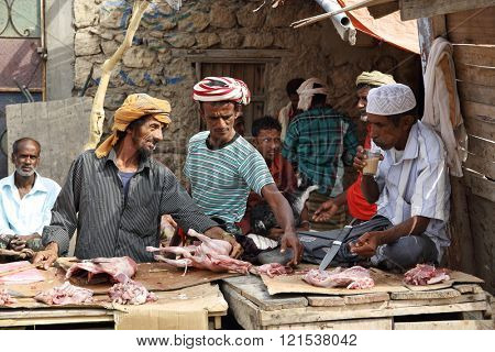 HADIBOH, SOCOTRA ARCHIPELAGO, YEMEN - FEB 14, 2016: At the local market, local people selling goat meat