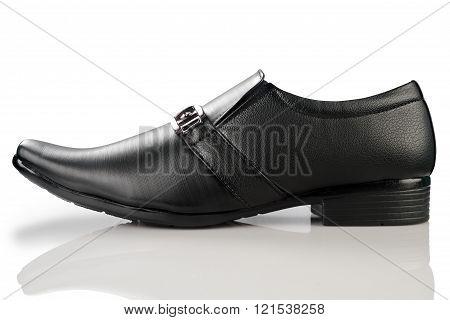 Formal Men's Black Leather Shoe On White Background