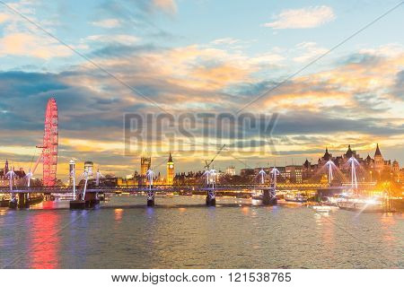 London Panoramic View At Sunset With Illuminated Skyline