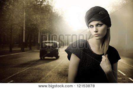 vintage portrait of beautiful woman on London street