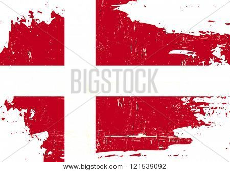 Denmark scratched Flag. A danish flag with a grunge texture