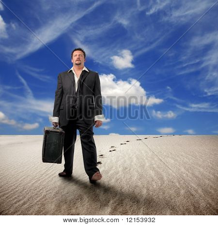 business man walking on a desert