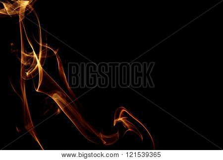 Golden Trail Of Smoke On A Black Background, Abstraction.