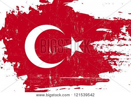 Turkish scratched Flag. A Turkish flag with a grunge texture
