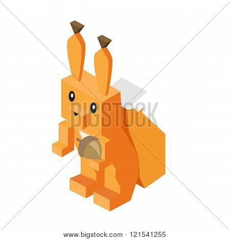 Wild Animal Squirrel Isometric 3d Design