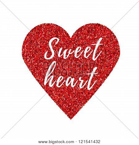 Abstract Heart Glittering Card