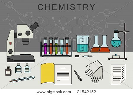 Chemistry banner with chemical equipment.