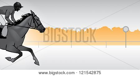 Jockey riding a horse. Horse races. Competition. Silhouette